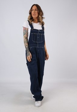 Denim Dungarees Wide Leg Vintage TALL LENGTH UK 14 (BJ3B)