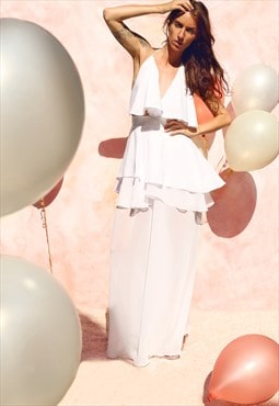 Chiffon trousers with flowy skirt and top