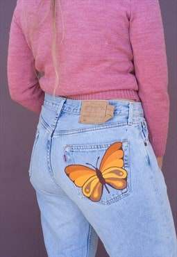 Sunset Butterfly Hand Painted Vintage Levi 501 Jeans