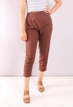 Vintage 90s Brown High Waist Cropped Trousers