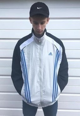 Mens Adidas jacket blue grey zipper sportswear top coat