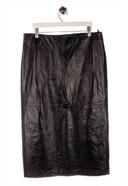 Vintage leather  Leather Skirt Smooth Look Black