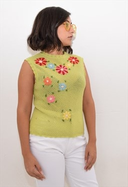 Vintage Moschino green floral knit top