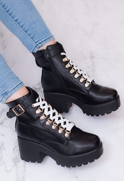 VICIOUSER Lace Up Block Heel Ankle Boots-Black Leather Style