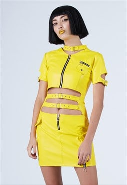 Faster Pussycat Faux Leather Dress in Yellow
