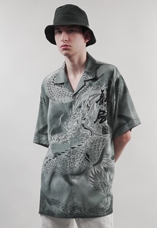 VINTAGE 90'S GREY CHINESE-INSPIRED DRAGON PRINT SHIRT