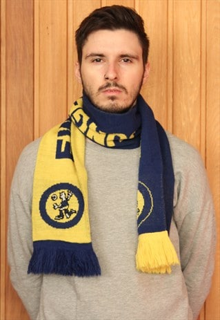 BLUE AND YELLOW EWE CUP FOOTBALL SCARF