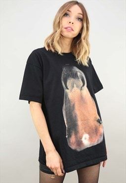 Vintage Retro Oversized Horse Graphic Picture T-shirt