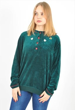 Vintage velvet jumper in green