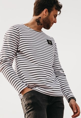 ART DISCO 'INSIGNIA' STRIPED BRETON TOP
