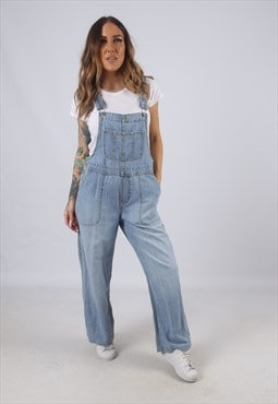 Vintage Denim Dungarees Wide Leg UK 10 S  (W5F)