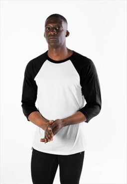 Raglan Contrast 3/4 Long Sleeved T-Shirt - White/Black