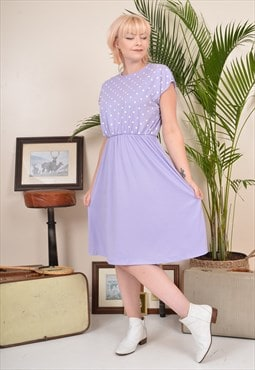 Vintage 80s Polka Dot Summer Midi Dress Lilac Purple