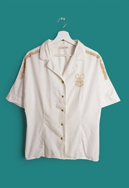 ROCCOBAROCCO Vintage Gold Embroidery White Shirt / Blouse