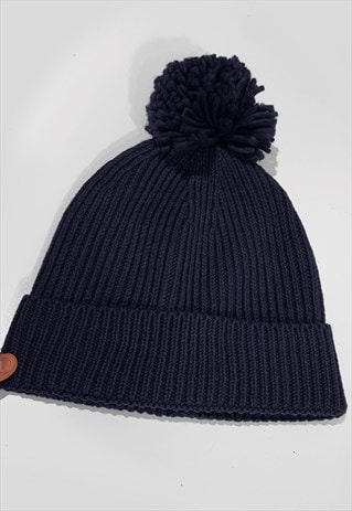 SKI BOBBLE KNITTED RIBBED BEANIE HAT - NAVY BLUE