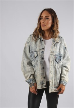 Vintage LEVIS Denim Jacket Oversized Acid Wash UK 16 (9AA)