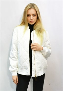 Quilted Satin Black Puffer Bomber puffer Jacket Pure white