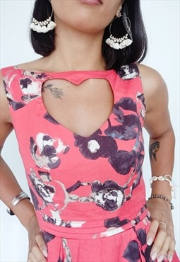 Retro Heart Neckline Dress in Floral Pink Print