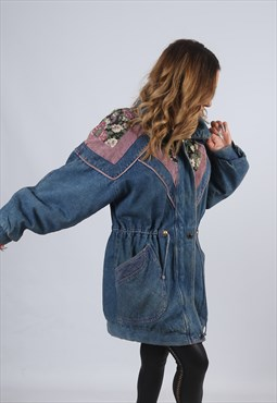 Vintage Denim Parka Jacket Oversized Long UK 12 M (CX5B)