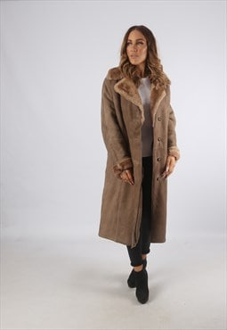 Vintage Sheepskin Suede Shearling Coat Long UK 16 XL (K93Z)