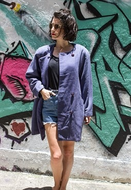 Vintage Periwinkle Double Breasted Coat