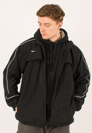 VINTAGE 90S BLACK NIKE WINDBREAKER JACKET XXL