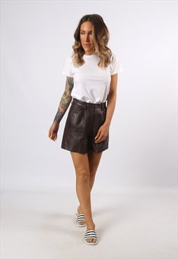 High Waisted Leather Shorts Bohemian UK 8 - 10 (H7CW)