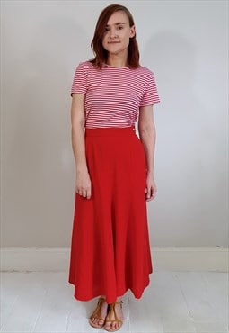 Vintage 80's Red Wool Midi A Line Skirt
