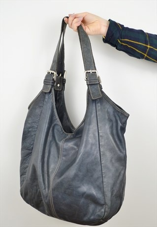 LEATHER SLOUCH SHOPPER