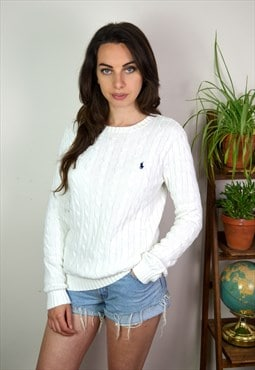 90's Vintage Ralph Lauren White Cable Knit Jumper