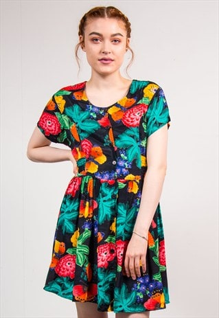 VINTAGE 90'S BRIGHT BUTTERFLY FLORAL PATTERN CUTE MINI DRESS