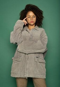 Men Grey Corduroy LEE COOPER Jacket XL