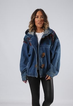 Denim Jacket Bomber Hooded Oversized Tartan UK 16 (HK7Q)