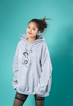 Hoodie in Grey with Snake Print