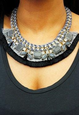 Grey & Black Fringe Velvet Chunky Statement Necklace