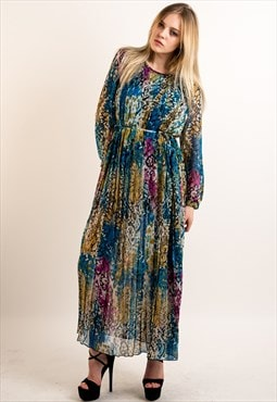 Blue leopard and floral print pleated chiffon maxi dress