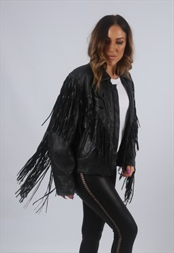 Vintage Leather Tassel Biker Jacket Fringe UK L 14  (K2Q)