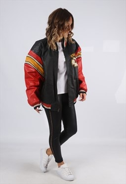 Leather Bomber Jacket Oversized FOOTBALL UK 18 20 (K9EK)