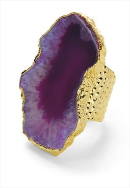 Ultra Mega Purple Gemstone Gold Statement Ring