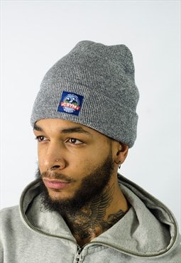 Grey beanie with cbym outdoors woven patch