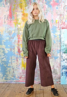 Mulberry Cord Trousers & Green Crop Sweat Co-ordinates