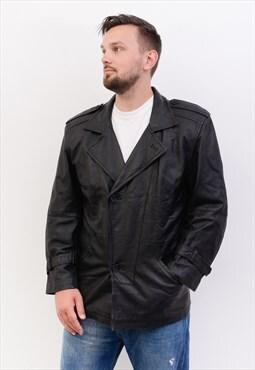 Leather Vintage men's UK 38 Jacket Coat Trench EU 48 Belted