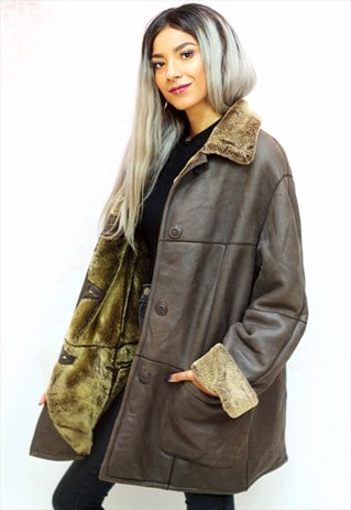 1980S VINTAGE BROWN LEATHER COAT WITH FAUX FUR LINING