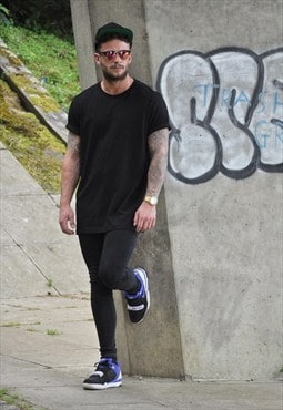 New Plain oversize black cotton Tee Tshirt Top