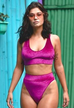 Retro Rockabilly Velvet Bikini (Raspberry)