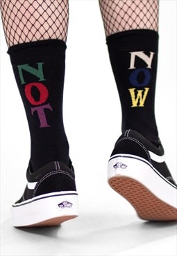 'Vacant' Black Reverse Rainbow Slogan Socks