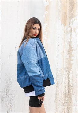 Reworked denim oversized jacket