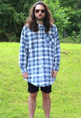 VINTAGE 90S ART OVERSIZE CHECKED FLANNEL SHIRT PULLOVER - XL