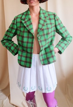 RARE Vintage 90s Versace Green Plaid Blazer Jacket