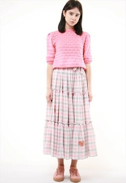 90s Vintage Midi Linen Checked Floral Print Skirt 706